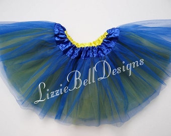 "Blue / Yellow Reversible Ballet Tutu Two Tone Skirt  / Waist Stretch 14-24"" / Child Toddler Costume Photo Prop Soft Tulle"
