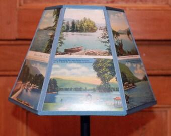 Lake George NY Vintage Postcard Lamp Shade