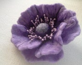 Flower brooch, Felted brooch, Purple brooch pin and clip, Jewerly, Handmade, Unique, Hair Accessories