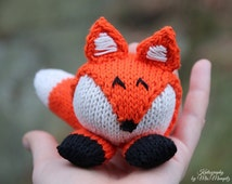 Toy Fox, handmade from eco friendly cotton yarn, knit toy fox, gift for kids, stocking stuffer, holiday gift, baby shower