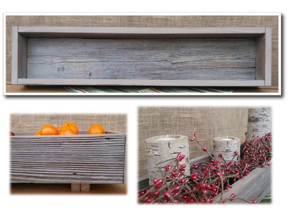 Rustic Reclaimed Barn Wood Footed Centerpiece By