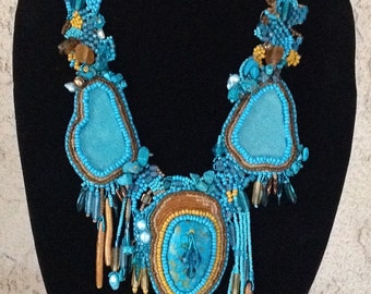 Stunning beaded turquoise necklace using bead embroidery and free form peyote