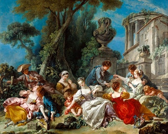 "Francois Boucher : ""The Bird Catchers"" (1748) - Giclee Fine Art Print"
