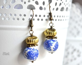Earrings blue flower lotus