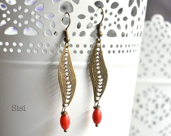 Earrings pearl red curve