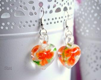 Earrings heart murano orange flower