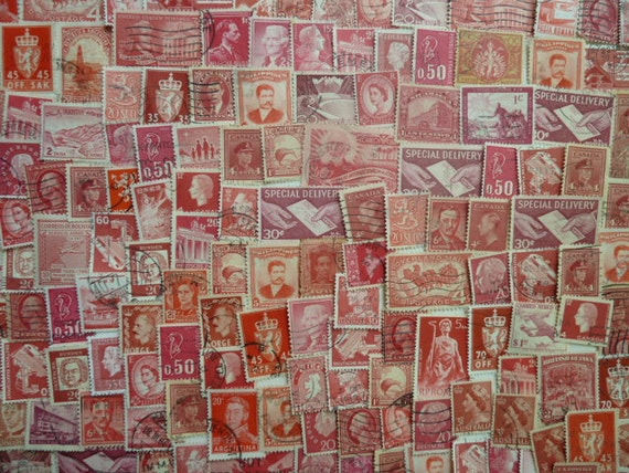 Red Stamps Lot of Used Postage Stamps for by StampsForCrafts
