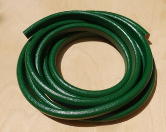 Forest Green Licorice Leather Cord 6.8X9.8mm- 20cm/8inches