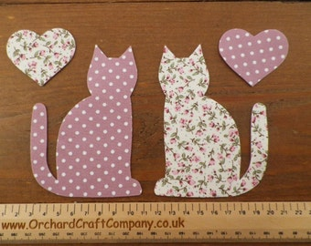 Iron on fabric, Applique Calico Cats x 2 with hearts,Dotty/floral