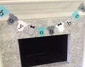 Boy Oh Boy Baby Shower Decor, Little Man Baby Banner, Chevron Baby Shower Decor, Teal and Gray Baby, Bow Tie Banner, Baby One-Piece Banner