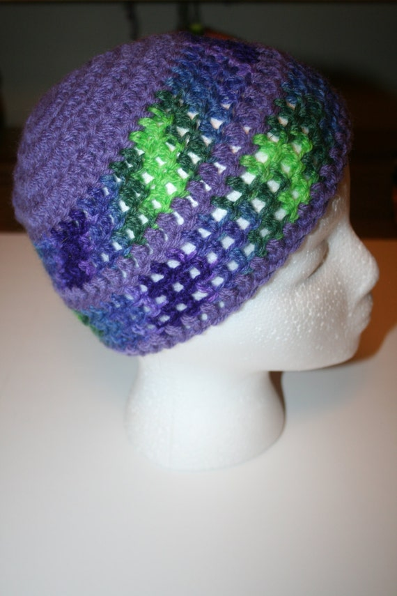 Crochet Beanie in Purple for Young Adult or Child