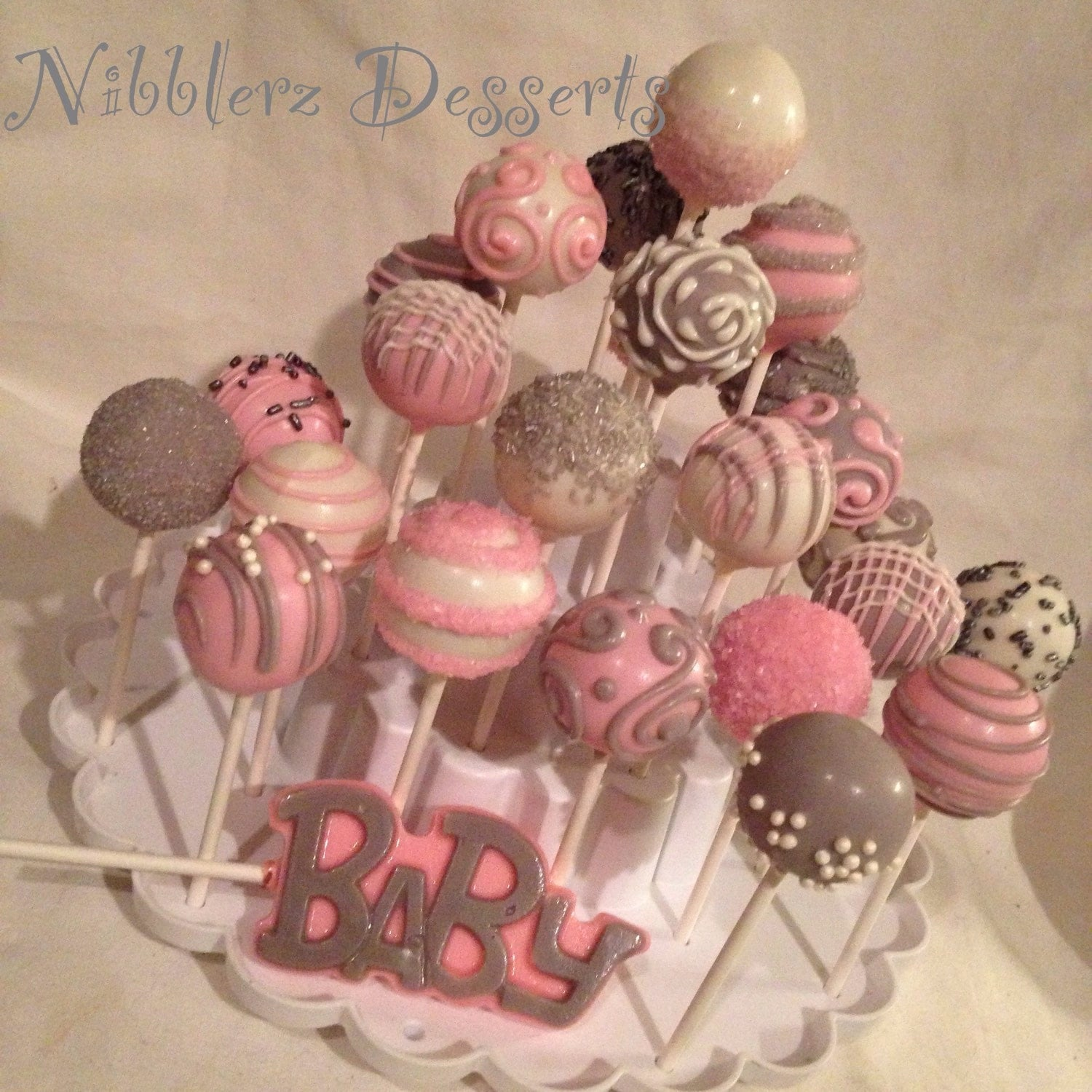 24 baby shower custom color cake pops match any color scheme