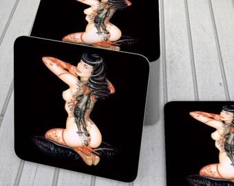 Adult Pin Up Girl Coaster Set, Tattooed Pin Up Girl, Inked Girl Coasters