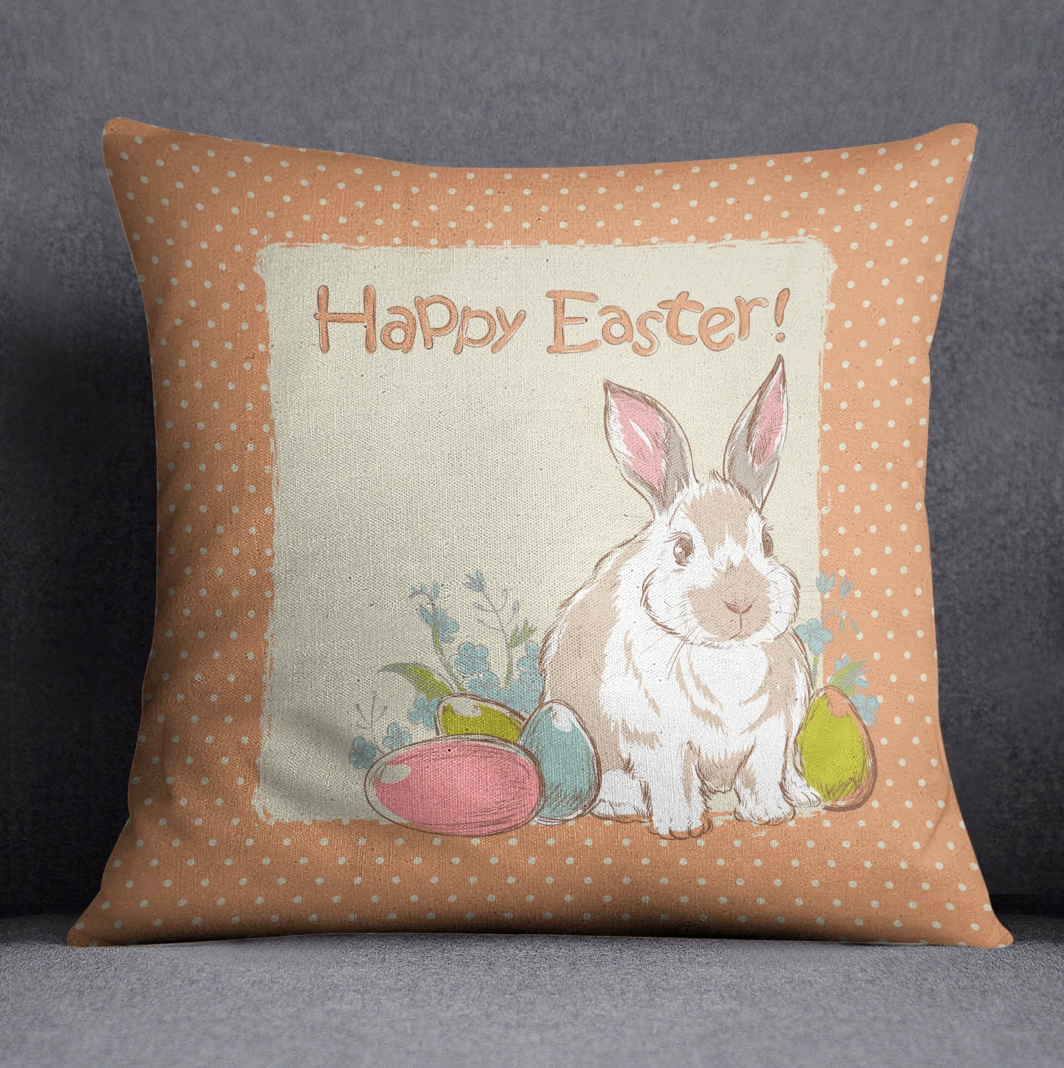 Cute Bunny Pillow : Easter Pillow Easter Decorations Easter Bunny Pillow by InkandRags
