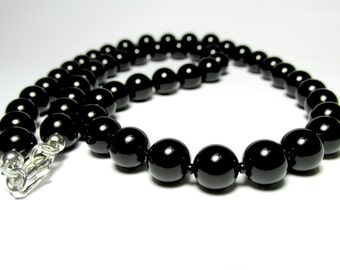 Mens Onyx Necklace, Mens Beaded Necklace, Silver Necklace, Mens Gemstone Necklace, Necklace for Men, Handmade Necklace