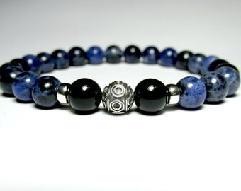 Sodalite and Onyx Bracelet, Mens Beaded Bracelet, Sterling Silver Bracelet, Mens Jewelry, Mens Gift, Gemstone Stretch Bracelet
