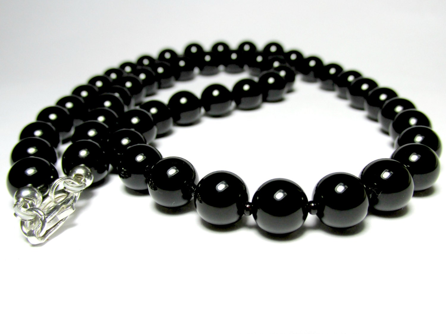 mens onyx necklace mens beaded necklace silver necklace