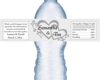 49 Silver Heart Personalized Wedding Water Bottle Labels