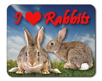 Rabbits - I Love Rabbits Mouse Mat Mouse Pad