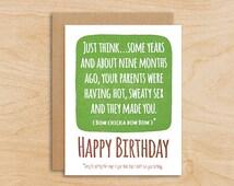 Your Parents Had Sex Birthday Card - Happy Birthday Greeting Card, Funny Birthday Card