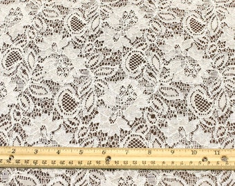 ff08e98492ee6d Crystal Floral Tan Nylon Lace Fabric by the yard - Jewel Pattern - 1 Yard  style 357