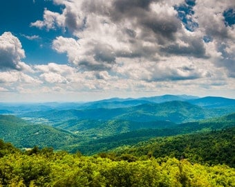 View of the Blue Ridge Mountains and Shenandoah Valley in Shenandoah National Park, Virginia - Photography Fine Art Print or Wrapped Canvas