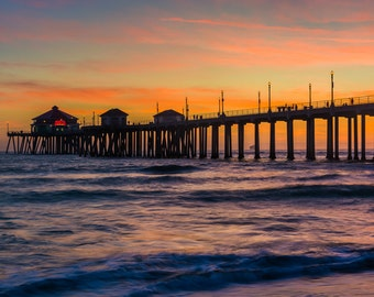The pier at sunset, in Huntington Beach, California - Landscape Photography Fine Art Print or Wrapped Canvas