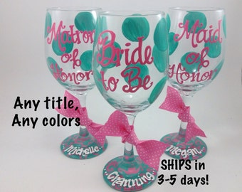 FREE SHIPPING ON 7 Plus Bride to Be Maid of Honor Bridesmaid Damask Wine Glass Personalized Custom Wedding Shower Bachelorette Wedding Party