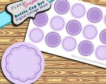 Scrapbook Bottle Cap Images Lavender Digital Collage Sheet 1 Inch Circles Elements
