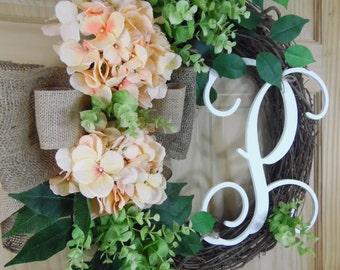 spring wreath - peach hydrangea  - summer wreaths - hydrangea wreath - monogram wreath - mothers day - personalized wreath