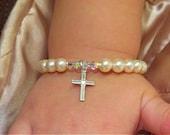 BABY GIRL CROSS Baptism Bracelet Swarovski Pearl Bracelet, Christening,Cross,Personalized Bracelet,Religious Gifts,Newborn Jewelry