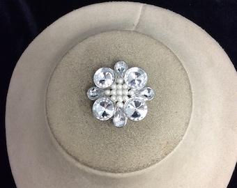 Vintage Rhinestone & Faux Pearl Pin