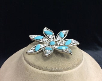 Vintage Large Blue Glass & Rhinestone Floral Pin