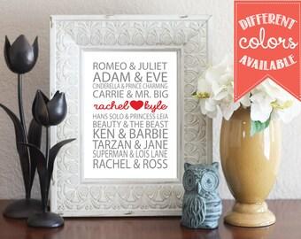 Berühmtes paar liebe kunstdruck - valentinstag geschenk - custom