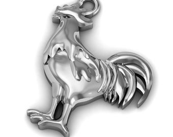Sterling Silver Charm. Rooster. Size: Length is 19 mm. Width is 14 mm. Jewelry making finding.