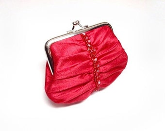 Red Swarovski elements beaded purse