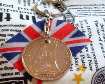 1965 1d 1d Old Penny English Coin Keyring Key Chain Fob Queen Elizabeth II