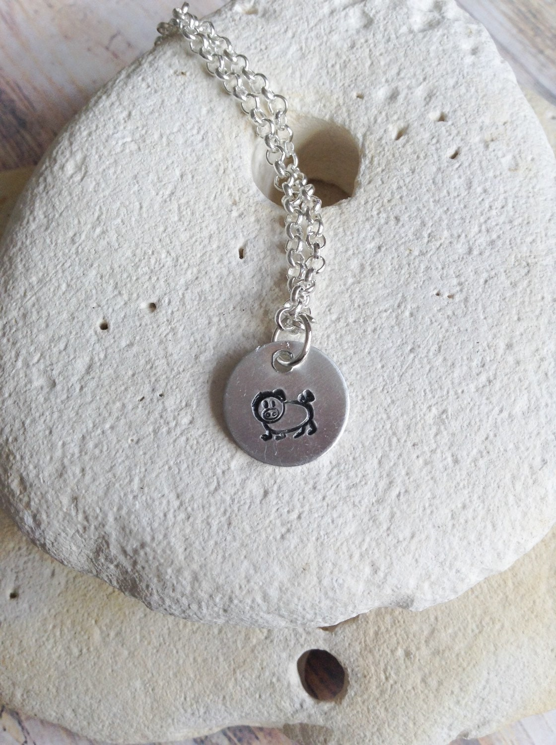 Vegan jewellery - pig necklace - piglet jewelry - animal necklace - animal rights jewellery - animal jewellery - handstamped