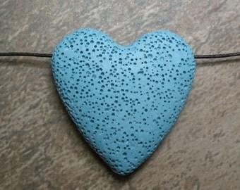 Lava Stone Bead - Pendant - Teal Blue -  Item 71069