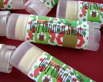 Ugly Christmas Sweater - Vegan Lip Balm - Natural Lip Butter - Bath and body - Christmas  stocking stuffer - Peppermint Gingerbread Latte