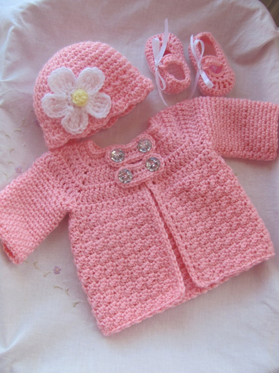 Items similar to 3-Piece Baby Crochet Sweater (jacket ...