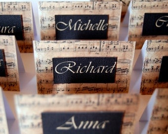 "Music wedding place cards ""Claudia"""