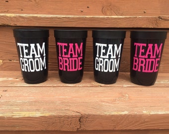 Team Bride / Team Groom Bridal Party Wedding Cup, Bachelorette Party Cup, Bridal Party Cup, Bride Tribe, Bridesmaid Gift, Groomsmen Gift