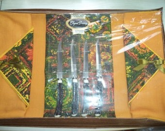 SALE Vintage Placemats Napkins and Fake Antler Knives Gift Set of Four Orange Green Yellow
