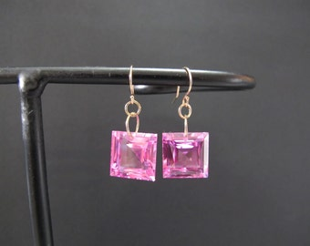 Square Cut Pink Topaz Solid Gold Earrings