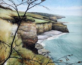 "Watercolour print of Welsh coast | 7.5"" x 8.5"" | Painting of South Wales coast path | Llantwit Major | Coastal landscape by Helen Lush"