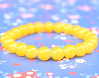 Yellow glass bead bracelet, beaded bracelet