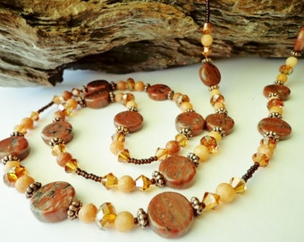 Red Sesame Jasper & Peach Calcite Beaded Necklace, Gemstone Beads Necklace, Single or Double Strand, Long Necklace