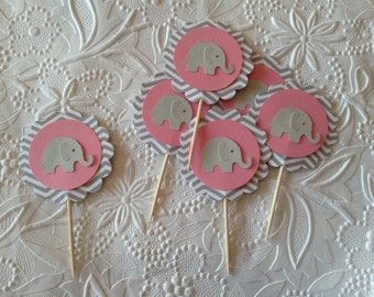 12 Light Pink and Grey Chevron Elephant Cupcake Toppers-Toothpicks-Food Picks-Party Picks-Baby Girl Shower
