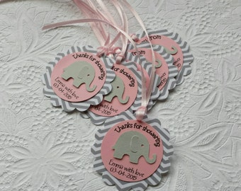 12 Pink and Grey Chevron Elephant Gift Tags-Custom-Personalized-Favor-Hang Tags-Baby Girl Shower-Elephant Theme-Elephant Gift Tags